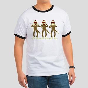Hear See Speak No Evil Sock Monkeys Ringer T-Shirt