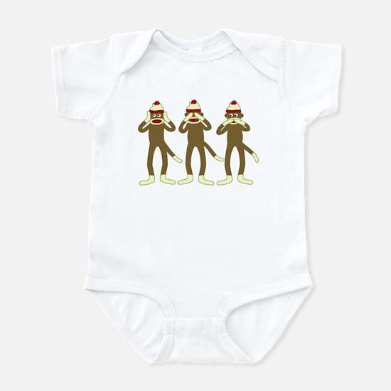 Hear See Speak No Evil Sock Monkey Infant Bodysuit