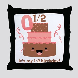 Kawaii Cake 1/2 Birthday Throw Pillow