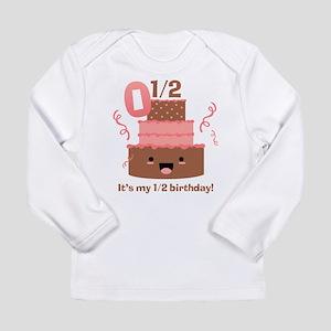 Kawaii Cake 1/2 Birthday Long Sleeve Infant T-Shir