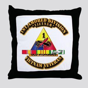 1st Armor Div w SVC Ribbons Throw Pillow