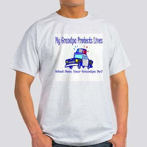 Police Protects Lives-Grandpa Ash Grey T-Shirt