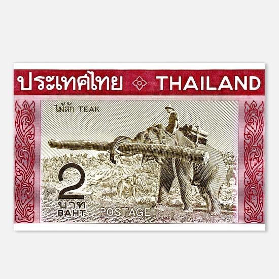 1968 Thailand Working Elephant Postage Stamp Postc