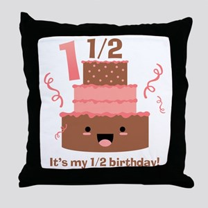 Kawaii Cake 1 1/2 Birthday Throw Pillow