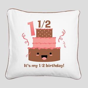 Kawaii Cake 1 1/2 Birthday Square Canvas Pillow
