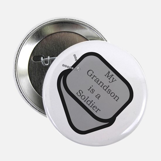 My Grandson is a Soldier dog tag Button