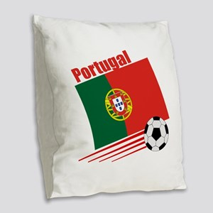 Portugal Soccer Team Burlap Throw Pillow
