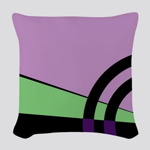 Violet and Green Majestic Woven Throw Pillow