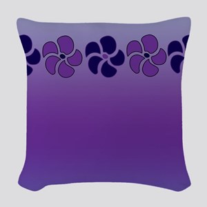 Violet Purple Flowers Woven Throw Pillow