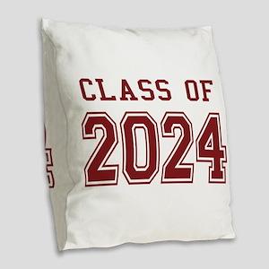 Class of 2024 (Red) Burlap Throw Pillow