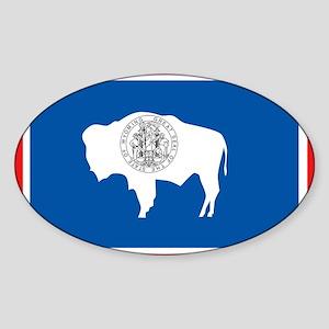 Wyoming Flag Oval Sticker