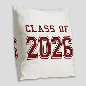 Class of 2026 (Red) Burlap Throw Pillow