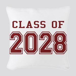 Class of 2028 (Red) Woven Throw Pillow