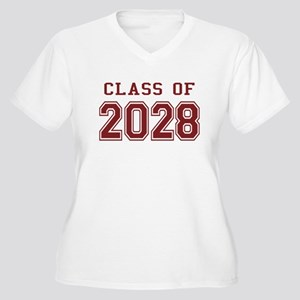 Class of 2028 (Red) Women's Plus Size V-Neck T-Shi