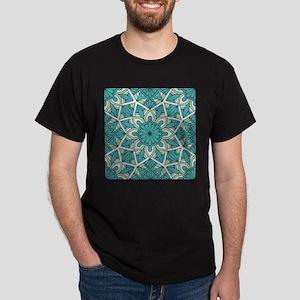 Flower mandala cyan blue Dark T-Shirt