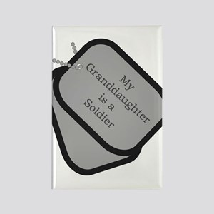 My Granddaughter is a Soldier dog tag Rectangle M