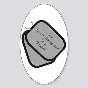 My Granddaughter is a Soldier dog tag Sticker (Ov