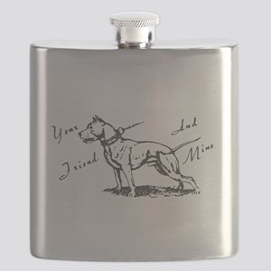Your Friend And Mine Pit Bull Logo Flask