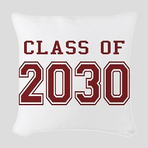 Class of 2030 (Red) Woven Throw Pillow