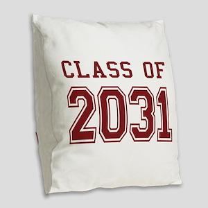 Class of 2031 (Red) Burlap Throw Pillow