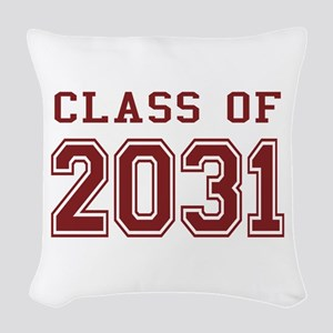 Class of 2031 (Red) Woven Throw Pillow