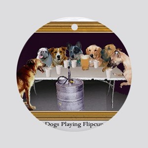 Dogs Playing Flipcup Ornament (Round)