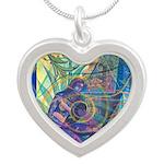 Pointillist Mayahuel Silver Heart Necklace