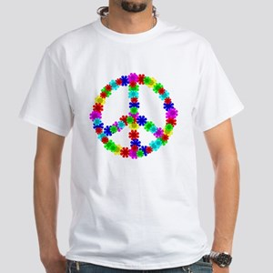 1960's Era Hippie Flower Peace Si White T-Shirt