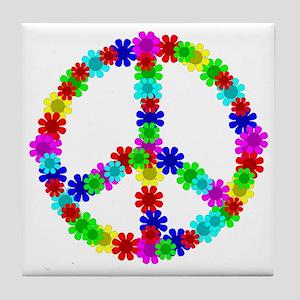 1960's Era Hippie Flower Peace Sign Tile Coaster