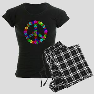 1960's Era Hippie Flower Pea Women's Dark Pajamas
