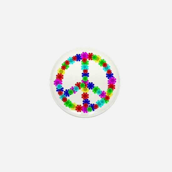 1960's Era Hippie Flower Peace Sign Mini Button