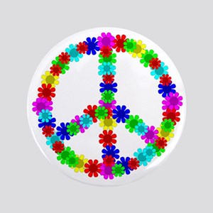 "1960's Era Hippie Flower Peace Sign 3.5"" Button"