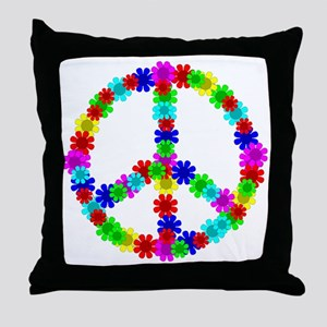 1960's Era Hippie Flower Peace Sign Throw Pillow
