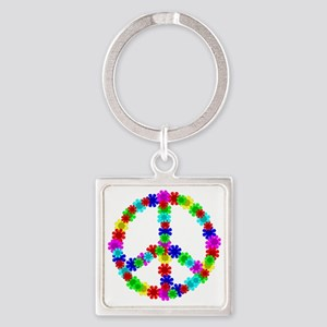 1960's Era Hippie Flower Peace Sig Square Keychain