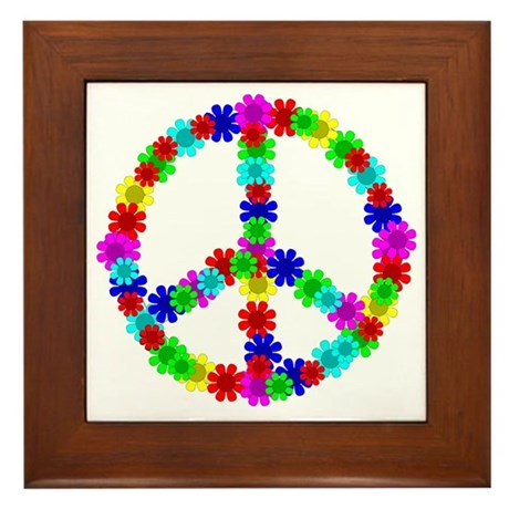 1960's Era Hippie Flower Peace Sign Framed Tile