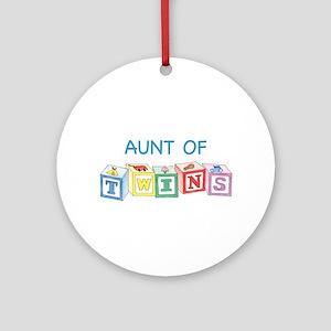 Aunt of Twins Blocks Ornament (Round)