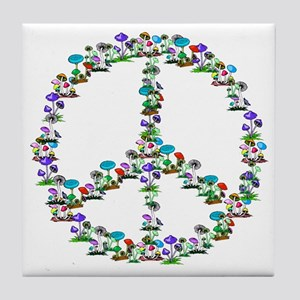 Shrooms of Peace Sign Tile Coaster