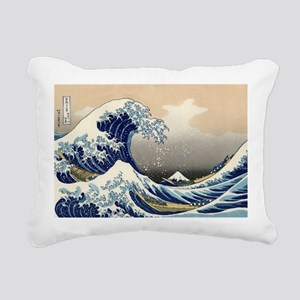 The Wave by Hokusai Rectangular Canvas Pillow