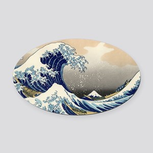 The Wave by Hokusai Oval Car Magnet