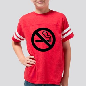 No Smoking black on trans Youth Football Shirt