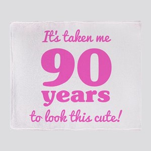 Cute 90th Birthday For Women Throw Blanket