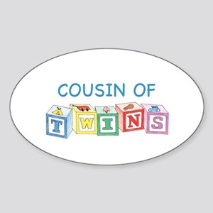 Cousin of Twins Blocks Oval Sticker