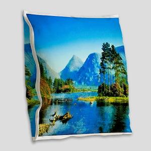 Mountain Lake Burlap Throw Pillow