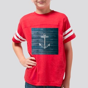 Anchor on Blue faux wood grap Youth Football Shirt