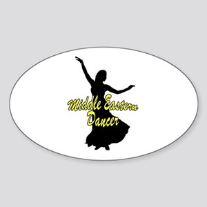 Middle Easter Dancer Yellow Oval Sticker