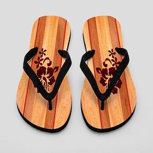 Faux Wood Surfboard Flip Flops
