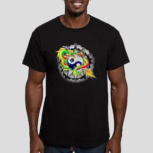 Yin and Yang Dragon Men's Fitted T-Shirt (dark)