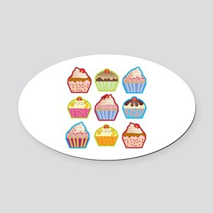 Cute Cupcakes Oval Car Magnet