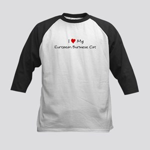 Love My European Burmese Cat Kids Baseball Jersey