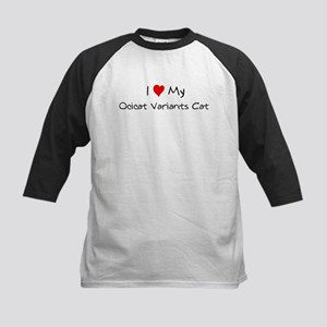 I Love Ocicat Variants Cat Kids Baseball Jersey